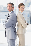 Business man and woman smiling