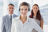 Businesswoman wearing a work headset