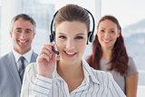 Businesswoman wearing a work headset