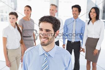 Business man smiling at work