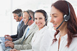 Call center workers all smiling