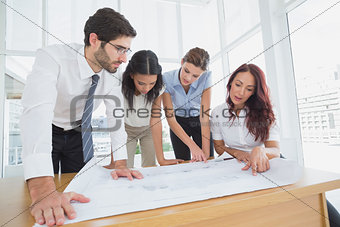 Business team reading work plans