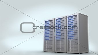 Three digital grey server towers