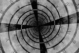 Digitally generated roman numeral clock vortex
