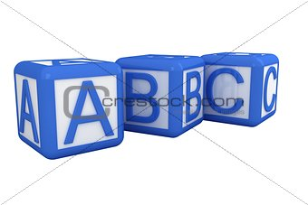 Blue and white alphabet blocks