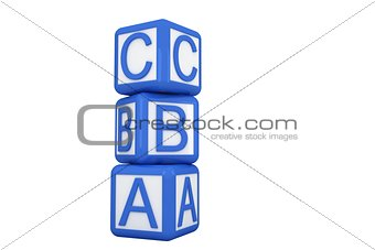 Blue and white alphabet blocks
