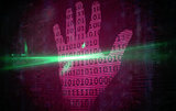 Pink technology hand print binary design