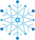 Digitally generated blue snow flake
