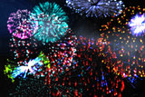Colourful fireworks exploding on black background