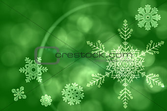 Green snow flake pattern design
