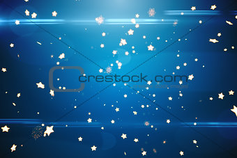 Bright star pattern on blue