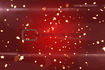 Bright star pattern on red