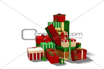 Green red and gold christmas gifts