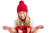 Pretty blonde opening gift bag