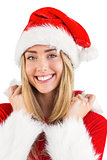 Pretty santa girl smiling at camera