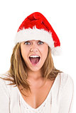 Festive blonde shouting at camera