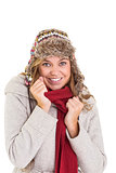 Happy blonde in winter clothes