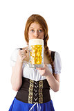 Oktoberfest girl drinking jug of beer
