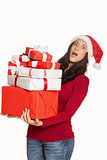 Woman holding many christmas presents