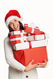 Smiling woman with christmas presents