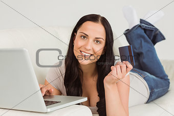 Woman ordering shopping from online