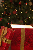 Light shining from christmas present