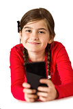 Cute little girl using smartphone