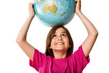 Cute pupil smiling holding globe