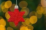 Red christmas star decoration hanging