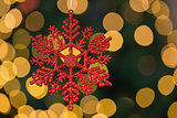 Red christmas snowflake decoration hanging