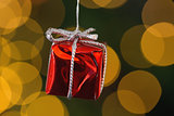 Red christmas gift decoration hanging