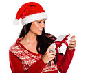 Young brunette with christmas present