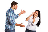 Aggressive man overpowering his girlfriend
