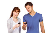 Couple using their mobile phones