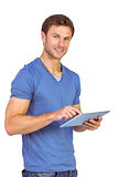 Man scrolling through tablet pc