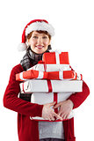 Smiling woman holding christmas presents
