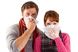 Couple blowing noses into tissues
