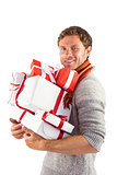 Man holding some large presents