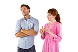 Woman arguing with uncaring man