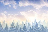 Snow falling on fir tree forest