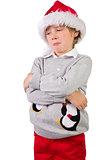 Child wearing a santa hat