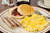 Sausage and egg breakfast