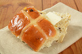 Hot cross bun with butter