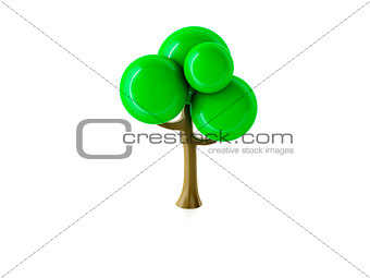 3d tree on white background