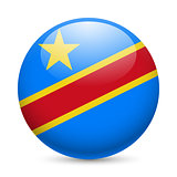 Round glossy icon of DR Congo