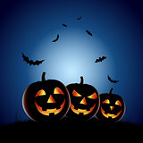 Halloween night backdrop with pumpkins
