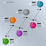 Time line info graphic colored round template