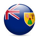 Round glossy icon of Turks and Caicos Islands