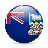 Round glossy icon of Falkland Islands