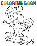 Coloring book school boy theme 1